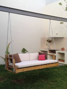 38 Charming Swing Design Ideas - The Architects Diary Pallet Furniture, Garden Furniture, Swing Design, Front Yard Design, Outdoor Living, Outdoor Decor, Swinging Chair, Porch Swing, Front Porch