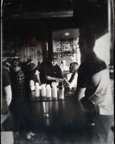 Patrons at Fischman's Liquors. #tintype #hipstamatic #blackandwhite #drinking #beer