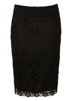 Lace Pencil Skirt Black