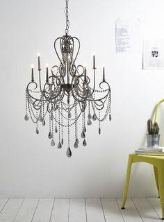Xenia Chandelier Light smoke Gothic chandelier crystal glass gunmetal grey BHS. vintage style chandelier