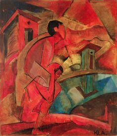 Jury Annenkov (1889-1974, Russian), 1917, Monk Christopher with Christ near the river (Монах Христофор с Христом возле речки), 54.5 x 65 cm. #Cubism #Religious #Painting