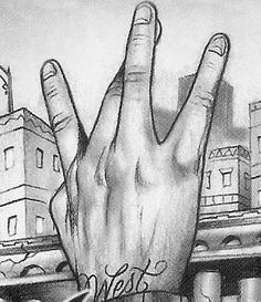 westside hand sign Pictures, Images and Photos Gangster Drawings, Chicano Drawings, Chicano Tattoos, Westside Tattoo, Arte Do Hip Hop, Hip Hop Art, Chicano Love, Chicano Art, 2pac