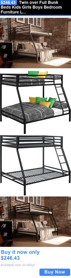 Kids Furniture: Twin Over Full Bunk Beds Kids Girls Boys Bedroom Furniture Ladder Loft Metal New BUY IT NOW ONLY: $246.43
