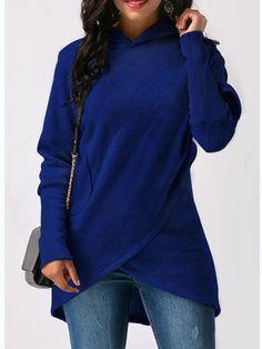 Gracila Casual Loose Solid Color Long Sleeve Women Asymmetrical Hoodies