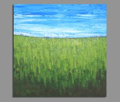 modern art abstract painting, acrylic painting, landscape painting, modern impressionist painting, blue and green, textured art 24x24 inches