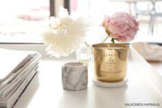 Olohuoneesta löytyy tällä hetkellä hento ripaus vaaleanpunaista. Vaihdoin koristetyynyiksi vaihteeksi mustavalkoiset tyynyt (Svenskt Tennin norsukangasta)