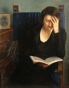 Woman reading Tullia Socin (Italian, Oil on canvas. The work shows the front view of a young woman reading in an interior. On the left there is a small portrait. Reading Art, Woman Reading, I Love Reading, Reading Books, I Love Books, My Books, People Reading, Art Occidental, Books To Read For Women