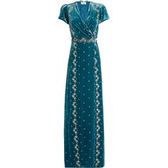 luisa beccaria Floral-embroidered velvet dress ($4,246) ❤ liked on Polyvore featuring dresses, gowns, blue multi, blue velvet gown, velvet evening gown, flower embroidered dress, velvet wrap dress and blue evening dresses
