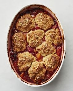 Oats add a satisfying crunch to the biscuit topping for this subtly sweet cobbler. Team the apricot filling with another summer treat, ripe strawberries, or let the stone fruit be the star.