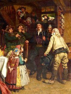"""Tableau d'Henry Mosler,  """"Am Hochzeitsmorgen -    Brautschmückung"""", 1883 . Les sonneurs, les petites filles, les détails des costumes..."""