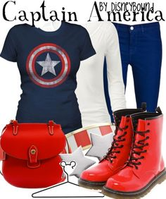Captain America outfit by Disney Bound. Marvel Inspired Outfits, Character Inspired Outfits, Estilo Disney, Marvel Fashion, Geek Fashion, Disney Fashion, Disneybound Outfits, Disney Outfits, Captain America Outfit