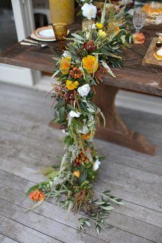 35 ideas wedding table flowers arrangements floral garland for 2019 Wedding Table Garland, Wedding Table Flowers, Floral Wedding, Wedding Rustic, Fall Wedding, Wedding Garlands, Wedding Prep, Forest Wedding, Rose Wedding