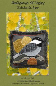 Wool Applique Pattern Chickadee On Aspen Winter Decor Patchwork Takaró  Szabásminták a10d209b43