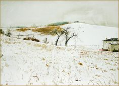 """watercolor on paper  Andrew Wyeth [American Contemporary Realist Painter, 1917-2009]  This watercolor, executed in 1967, depicts Kuerners' Farm in Chadds Ford, Pennsylvania with the hill across Ring Road.  It was released as a Collotype in 1976 by The Metropolitan Museum of Art.  """"I prefer winter and fall, when you feel the bone structure in the landscape – the loneliness of it – the dead feeling of winter. Something waits beneath it – the whole story doesn't show."""" – Andrew Wyeth  Official…"""
