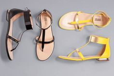 ahhhhh each new picture is better than the one before it! via @Refinery29: Prabal Gurung for Target Flat sandals in black and blazing yellow, $29.99 each