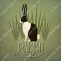Rabbit Print Original Design Animal Alphabet Poster by RedGateArts