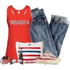Red White & Blue by cindycook10 on Polyvore featuring polyvore, fashion, style, J.Crew, Converse, Chan Luu and H&M