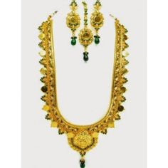 Gold Coin Necklace with green color stone - Rs 2,640.00