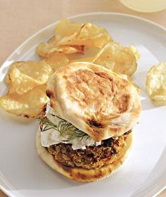 Veggie burger on a grilled english muffin with Feta and fresh dill | RealSimple.com
