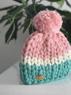 Diy Crafts - -Excited to share the latest addition to my etsy shop: Women's wool knit hat, Helsinki Hat, Super chunky hat with pom pon, Knit Hat. Loom Knitting, Baby Knitting, Knitting Patterns, Crochet Patterns, Knitted Balaclava, Knitted Hats, Knitting Projects, Crochet Projects, Big Yarn