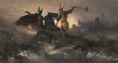 """Artwork from """"The World of Fire and Ice"""" - Robert Baratheon and Rhaegar Targaryen at the Battle of the Trident."""