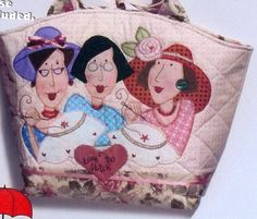 Gingham Girls Large Carryall - fun applique bag PATTERN - Red Brolly by Tammie Favorite Davis Free Motion Embroidery, Embroidery Stitches, Hand Embroidery, Machine Embroidery, Embroidery Designs, Red Brolly, Crazy Quilting, Purse Patterns, Applique Patterns