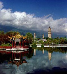 The Three Pagodas in Dali in China's Yunnan Province.