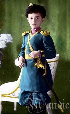 Tsarevich Alexei Romanov in the uniform of the Imperial Infantry Regiment, to which all male members of the Romanov family belonged