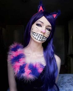 [Self] Cheshire Cat Cosplay Cheshire Cat Halloween Costume, Cheshire Cat Cosplay, Cheshire Cat Makeup, Character Halloween Costumes, Chesire Cat, Family Halloween Costumes, Cat Costumes, Halloween Cat, Halloween Outfits