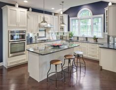 Beautiful kitchen with purple accent wall (Everett Federal - Morris Chase, NJ)