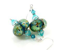 Teal Turquoise Earrings, Boro Glass Earrings, Lampwork Earrings, Glass Earrings, Glass Bead Earrings, Beadwork Earrings