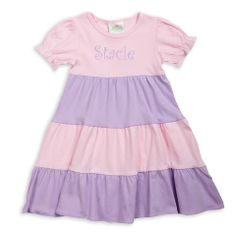 Lolly Wolly Doodle — Light Pink Lavender Tiered Cotton Dress