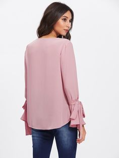 Shop Pearl Embellished Bow Tied Bell Cuff Blouse online. SheIn offers Pearl Embellished Bow Tied Bell Cuff Blouse & more to fit your fashionable needs.