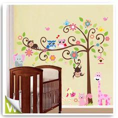 Animal Owl Bird Flower Tree Monkey Wall Stickers Decor Mural Decal Nursery Room | eBay