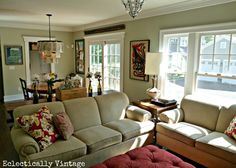 Family room and kitchen - love the open layout eclecticallyvintage.com   SOFA STYLE