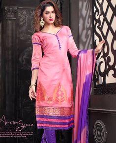 Charming Look Banarasi jacquard Designer Suit with Duppata Order @ Whats App 87-1672-7326