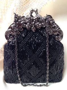 Vintage Black Art Deco Bridal Evening Bag, Old Hollywood, Purse Great Gatsby Wedding 1920 Flapper Accessory