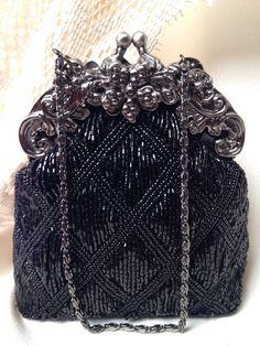 Vintage Black Art Deco Bridal Evening Bag, Old Hollywood, Purse Great Gatsby Wedding 1920 Flapper Accessory