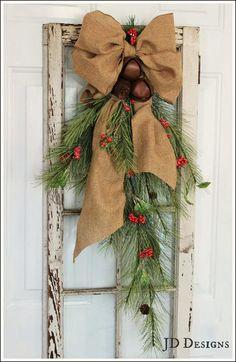 "Christmas Cedar and Pine Cone Bell Door 32"" Swag"