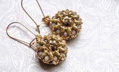 Gold Beaded Crystal Earrings, 14k Gold Filled, Bead Weaving, Boho Chic, Swarovski Crystal, Golden Shadow, Drop Earrings by seedbeadsofchange on Etsy