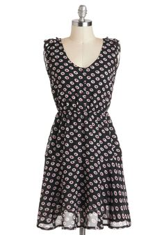 Born to Blossom Dress - Mid-length, Black, Red, White, Floral, Buttons, Casual, A-line, Sleeveless