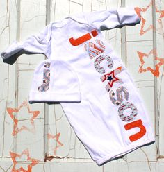 Personalized Newborn Gown and Cap Baby Shower Gift Set Boys Layette on Etsy, $39.00