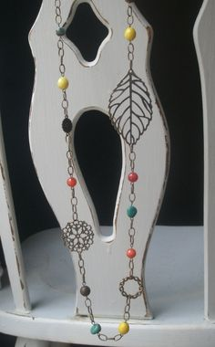 Boho necklace Long eclectic beaded necklace by RandLDesign on Etsy, $28.00