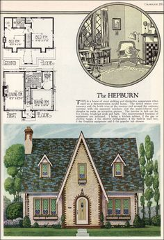 1927 American Builder - Hepburn by Radford  This is an unusually symmetrical English Cottage style house with hints of the 19th century Carpenter Gothic. It's not a big house, only a little over 1200 square feet, but the plan is nice with good traffic flow and good-sized bedrooms upstairs. It's largest flaw is lack of storage space.