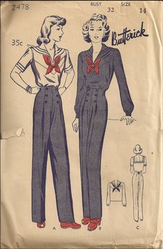 This reminds me of my grandma Butterick 2478 Sailor suit sewing pattern // Tuppence Ha'penny: Sailor Style Evolution Part Wartime Patriotism Vintage Dress Patterns, Clothing Patterns, Vintage Dresses, Vintage Outfits, Retro Mode, Mode Vintage, 1940s Fashion, Vintage Fashion, 1940s Outfits