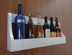 Prateleira Adega Suporte de Parede Suspenso para Vinhos e Bebidas Madeira - Branco Laca