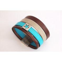 Bracelet manchette en cuir marron et turquoise - emmafashionstyle.fr