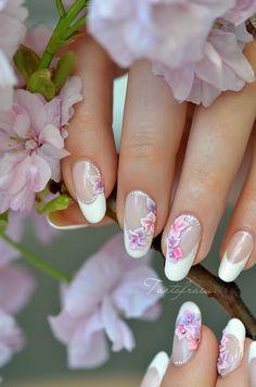 nail art mariage 3D fleurs cerisier