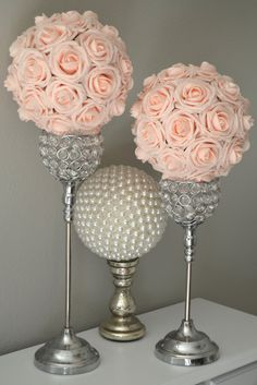 PINK BLUSH Kissing Ball. Wedding Centerpiece. Pink Blush Wedding Flower Ball. Pomander. Flower Girl. PREMIUM Real Touch Roses. by KimeeKouture on Etsy