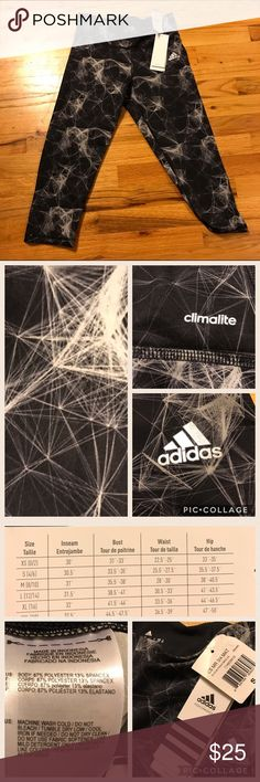 NWT Adidas ClimaStudio Mid-Rise 3/4 Training Tight New with tags Adidas 3/4 length tights. Has a great black and silver print. Adidas Pants Leggings